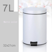 Creative Tarpapped Stainless Steel Slow Drop Silent Bucket Separate Household Trash Applicable Living Room Kitchen Bathroom Bedroom , white