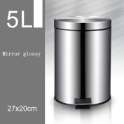 Creative Tarpapped Stainless Steel Slow Drop Silent Bucket Separate Household Trash Applicable Living Room Kitchen Bathroom Bedroom , 5l mirror light