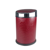Covered creative smart trash cans household kitchen living room bathroom trash can 37.5 * 23.5cm , red crocodile lines