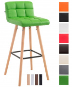 CLP Barstool LINCOLN V2 quilted with faux leather covers, beech wood frame, back rest + foot rest offering optimal comfort, max. weight capacity 150 kg green, colour of frame