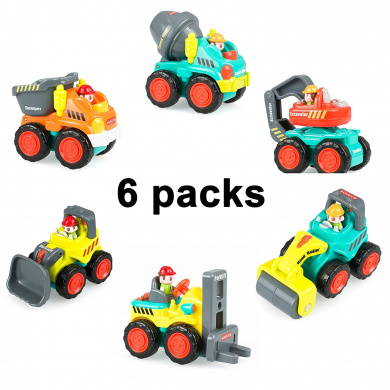 "Pocket Car Toys, Sliding Vehicles Trucks Toy Sets for Baby Toddlers Over . "" ( Set of 6: Bulldozer, Excavator, Dumper, Cement Mixer, Forklift, Road Roller)"
