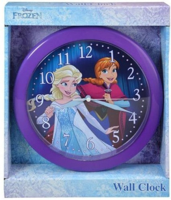 Disney Frozen 25cm round wall clock in open window box new art