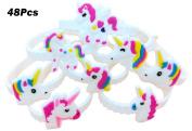 Monqiqi 48 Pack Unicorn Bracelets Party Wristbands for Children Birthday Party Favour Supplies