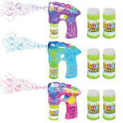 """Blue, Pink & Purple Bubble Blaster Set with Lights and Sound, by ArtCreativity Includes 7"""" bubble guns & 6 Bottles of Solution, Great Gift for Kids"""