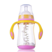 XW Maternal and Child Supplies Ppsu Children Anti-flat Gas Anti-choking Baby Wide Calibre Hard Handle Non-slip Baby Bottle 280ml,Yellow,280ml