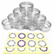 (50 Pieces, Clear) 3gram/3ml Round Clear Container Jars with Clear Screw Cap Lids for Lip Balms, Makeup Samples Makeup Eye Shadow Nails Powder Jewellery - BPA Free
