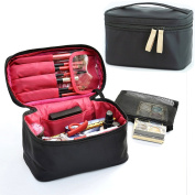 Bysiter Travel Makeup Case Cosmetic Bags Multifunction Toiletry Bag Organiser Storage Makeup Brush Bags Double Zipper Beauty Box With Mesh Pouch and Belt Strap Holder for Women Men