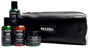Brickell Men's Leather Toiletry Bag (Dopp Kit) Includes Smooth Brushless Shave Cream, Purifying Charcoal Face Wash, Daily Essential Face Moisturiser & Daily Strengthening Shampoo - TSA Compliant