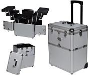 48cm Makeup Aluminium Rolling Cosmetic Train Case Artist Salon Lockable Box Silver By Allgoodsdelight365