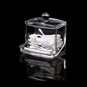 Amrka Acrylic Q-tip Holder Box Cotton Swabs Stick Storage Cosmetic Makeup Durable