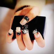 CoolNail 24pcs/set Pearl Nude Pink Black 3D Fake Nails French False Nails White Snowflake Star Full Nail Tips for Christmas Holiday