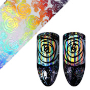 NICOLE DIARY Holographic Laser Starry Nail Foil Holo Rose Floral Pattern Manicure Nail Art Transfer Decal Stickers Tips