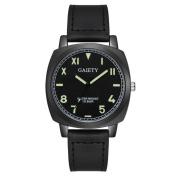 Gotd Men Business Fashion Leather Band Analogue Quartz Round Wrist Watch Watches