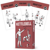 """KETTLEBELL EXERCISE CARDS Home Gym Workouts HIIT Strength Training Build Muscle Total Body Fitness Guide Training Routines Bodybuilding Personal Learn KB Moves 3.5""""x5"""" Cards Burn Fat"""