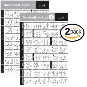 VOL 1+2 DUMBBELL EXERCISE POSTER 2-PACK LAMINATED - Workout Strength Training Chart - Build Muscle Tone, Tighten - Home Gym Weight Lifting - Body Building Guide w/ Free Weights & Resistance - 50cm x 80cm