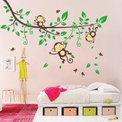 Clearance!! ZOMUSA Jungle Monkey Tree Kids Baby Nursery Removable Wall Sticker Mural Decor Decal
