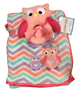 Cutie Pie 2PC. Baby Owl Blanket Set- Cheveron Multi Pink