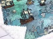 Minky Baby Blanket, Pirate Ship, Ocean Map, 70cm x 100cm