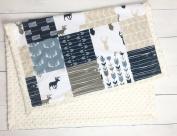 Minky Baby Blanket, Woodland Deer style in tan, Navy and Grey, 70cm x 100cm