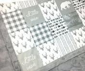 Minky Baby Blanket, Little Man bear style in White and Grey, 70cm x 100cm