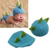 Osye Newborn Crochet Knitted Outfit Dinosaur Hat/Nappy Photography Props Costume Set