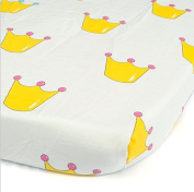 SweetTime Baby Fitted Soft Cotton Sheet, Bedding with Unisex Clouds and Chevron Custom Design, Fits Standard Mattress for Babies and Toddlers
