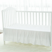 TILLYOU Baby Crib Bed Skirt with Ruffle, 100% Cotton Sateen Nursery Bedding for Boys Girls,36cm Drop/White