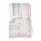 Burt's Bees Baby - Hand Drawn Batik Bee Reversible Quilt, 100% Organic and 100% Polyester Fill, Blossom