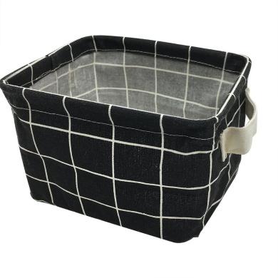 Small Storage Basket with Handles, Cotton Fabric Foldable Storage Organiser Bins for Nursery Kids Room Shelves & Desks (Black Plaid)