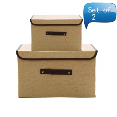 MOCOFO Set of 2 Foldable Storage Box with Lids and Handles Storage Basket Storage Needs Containers Organiser With Built-in Cotton Fabric Closet Drawer Removable Dividers