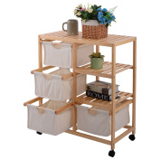 New Wood Hamper 2 Section Storage Shelf Unit W/4 Fabric Drawers Home Furniture
