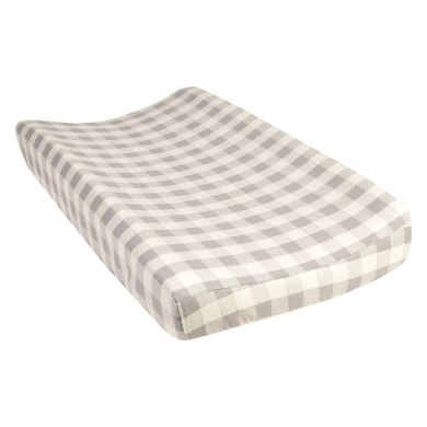 Trend Lab Grey and Cream Buffalo Cheque Deluxe Flannel Changing Pad Cover