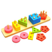 Wooden Shape Sorter Geometric Sorting Board Puzzle Building Block Set Early Learning for Baby Kids