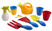 Educational Kids Toy Garden Toys Kit With Gardening Tools Includes 1 Hand Rake, 1 Hand Trowel, 1 Hand Fork 2 Flower Pots, 1 Rake, Watering Spray Bottle, Flower Watering Pot, Children's Gardening