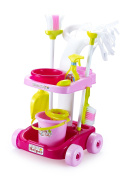 Housekeeping & Cleaning Trolley Playset – Mini Clean Up Cart for Kids with Mop & Bucket, Broom & Dustpan and Other Play Pretend Toys – Perfect Gift for Ages 3 & Up
