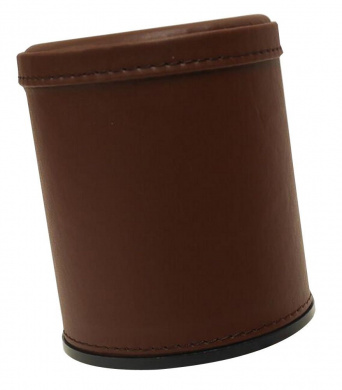 Set of 2 PU Leather Dice Cup with 6 Dices for Party Bar KTV [Brown]