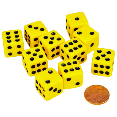 Set of 10 Six Sided D6 16mm Standard Dice Yellow with Black Pips