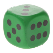 MagiDeal 4cm Collectible Safety PU Sponge Dice Six Sided Dotted Gaming Dice Toy Green