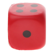 MagiDeal 4cm Collectible Safety PU Sponge Dice Six Sided Dotted Gaming Dice Toy Red