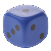 MagiDeal 4cm Collectible Safety PU Sponge Dice Six Sided Dotted Gaming Dice Toy Blue