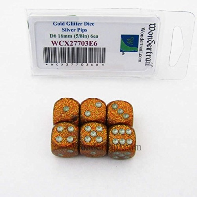 Gold Glitter Dice with Silver Pips 16mm (5/8in) D6 Set of 6 Wondertrail
