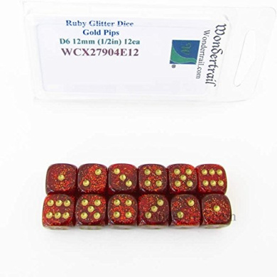 Ruby Glitter Dice with Gold Pips 12mm (1/2in) D6 Set of 12 Wondertrail