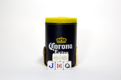 Corona Beer Elegant Dice Cup with Storage Compartment. 5 Engraved Poker Dice