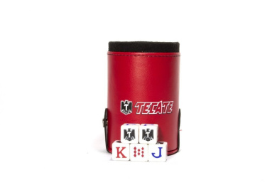 Tecate Beer Elegant Dice Cup with Storage Compartment. 5 Engraved Poker Dice