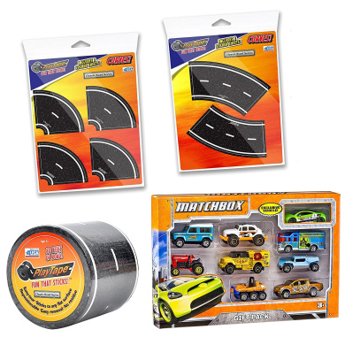 PlayTape Bundle: 9.1m x 5.1cm Straight Black Road - 1 Sheet Tight Curves (4 Total) - 1 Sheet Broad Curves (2 Total) - Matchbox 9 Car Gift Pack (Styles Vary) - 4 Items Bundled by Maven Gifts