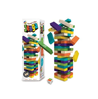 Jenga Throw 'n Go! 1+ players, ages 8+, 15 minutes