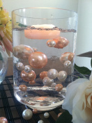 Vase Filler Pearls For Floating Pearl Centrepiece, 50 Peach/Ivory Pearls, Jumbo & Mix Size Pearls