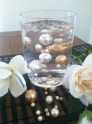 Vase Filler Pearls For Floating Pearl Centrepiece, 50 Champagne/Ivory Pearls, Jumbo & Mix Size No Hole Pearls