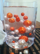 Vase Filler Pearls For Floating Pearl Centrepiece, 50 Coral Orange/Ivory Pearls, Jumbo & Mix Size No Hole Pearls