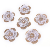 OZXCHIXU 12pcs Burlap Lace Flower with Pearl Natural colour Rustic Wedding Paty Decoration and Crafts DIY